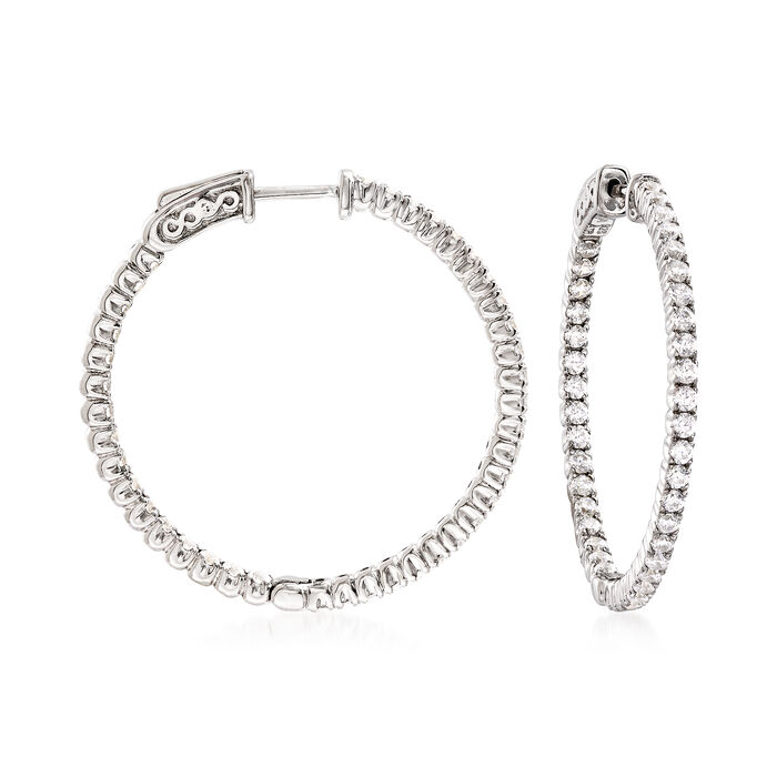 "2.00 ct. t.w. CZ Hoop Earrings in Sterling Silver. 1 1/4"", , default"