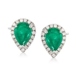 1.20 ct. t.w. Emerald and .19 ct. t.w. Diamond Teardrop Earrings in 18kt White Gold, , default