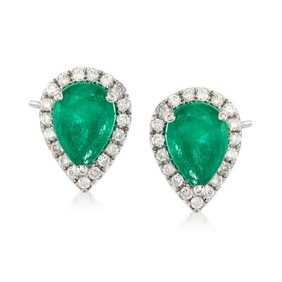 1.20 ct. t.w. Emerald and .19 ct. t.w. Diamond Teardrop Earrings in 18kt White Gold, , default