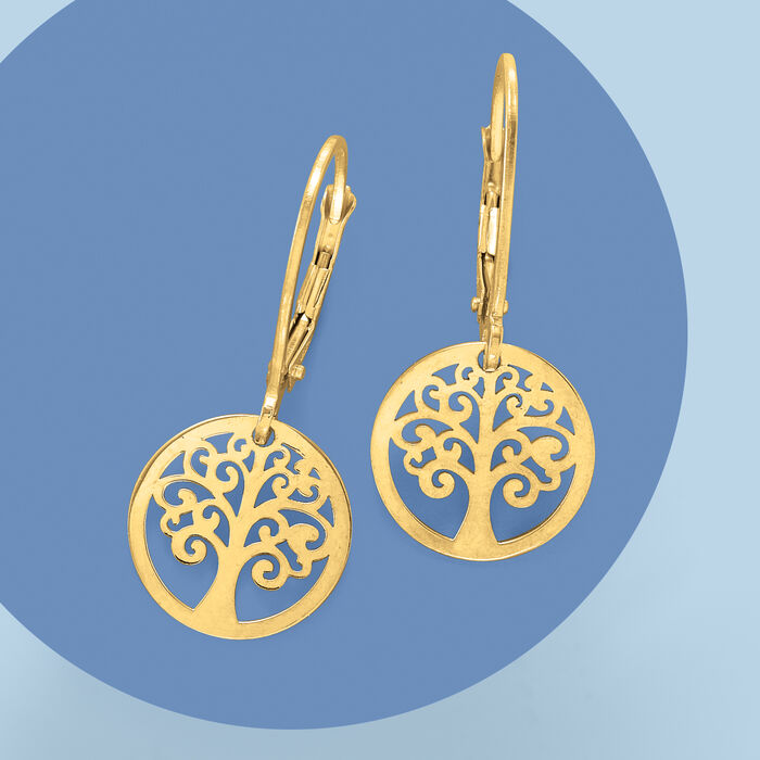 Italian 14kt Yellow Gold Tree of Life Drop Earrings