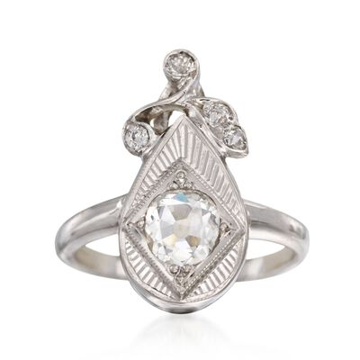 C. 1950 Vintage .43 ct. t.w. Diamond Ring in 14kt White Gold, , default