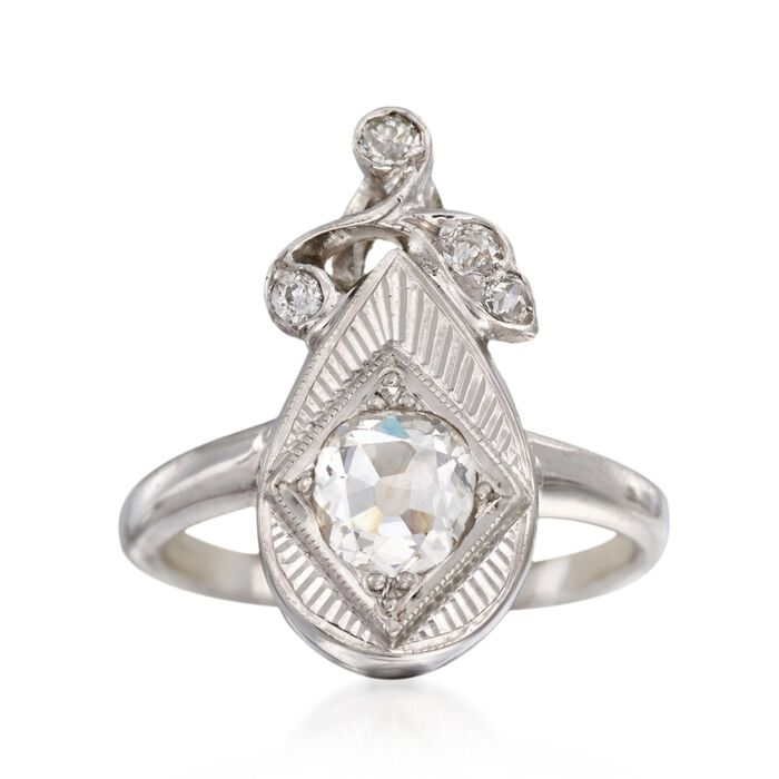 C. 1950 Vintage .43 ct. t.w. Diamond Ring in 14kt White Gold. Size 4