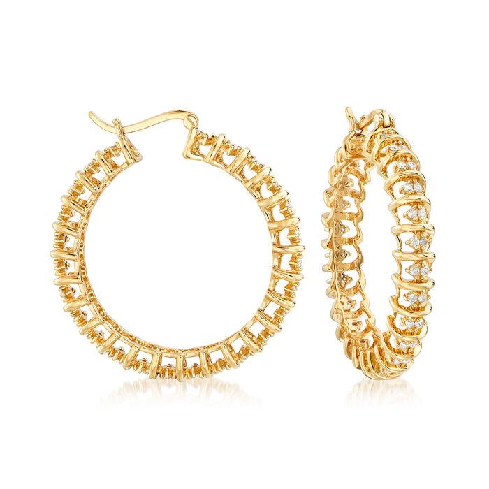 "1.00 ct. t.w. Diamond Spiral Hoop Earrings in 18kt Gold Over Sterling. 1 1/2"", , default"