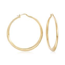 Italian 18kt Gold Over Sterling Tapered Hoop Earrings, , default