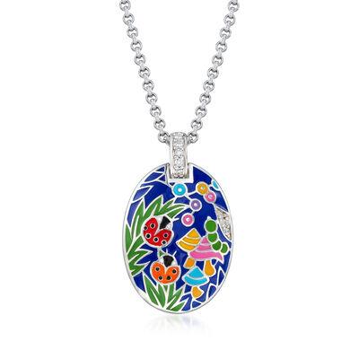 "Belle Etoile ""Ladybug"" Blue Enamel and .12 ct. t.w. CZ Pendant in Sterling Silver, , default"