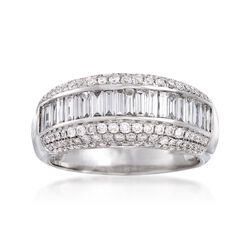 C. 1990 Vintage 2.00 ct. t.w. Round and Baguette Diamond Ring in 14kt White Gold. Size 6.5, , default