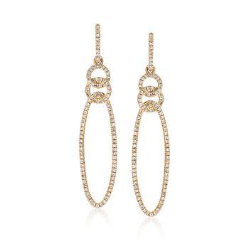 .25 ct. t.w. Pav Diamond Open Oval Drop Earrings in 14kt Yellow Gold, , default