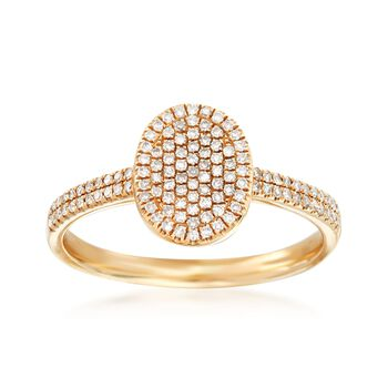 .28 ct. t.w. Pave Diamond Oval Ring in 14kt Yellow Gold , , default