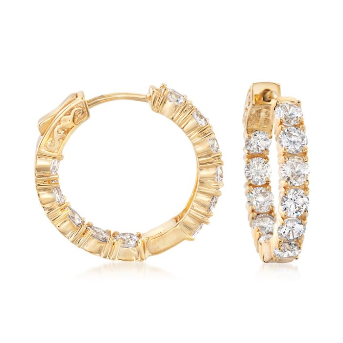 5.00 ct. t.w. CZ Inside-Outside Hoop Earrings in 14kt Gold Over Sterling. 7/8""