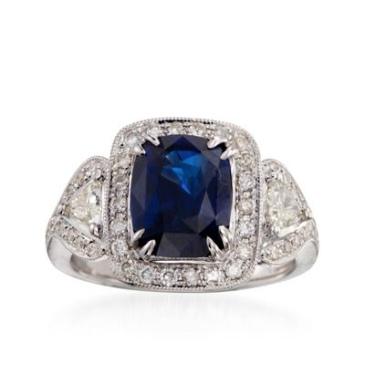 C. 2000 Vintage 3.57 Carat Sapphire and 1.15 ct. t.w. Diamond Ring in 18kt White Gold, , default