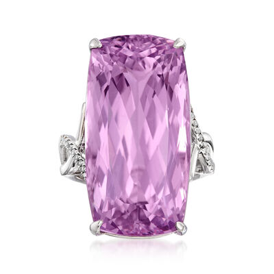40.00 Carat Kunzite Ring with Diamond Accents in 14kt White Gold