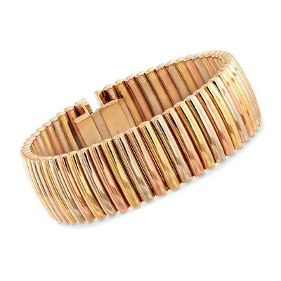 C. 1940 Vintage 14kt Tri-Colored Gold Ribbed Bracelet, , default