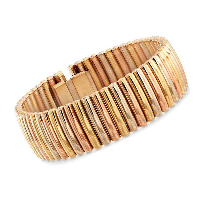 """C. 1940 Vintage 14kt Tri-Colored Gold Ribbed Bracelet. 6.5"""""""