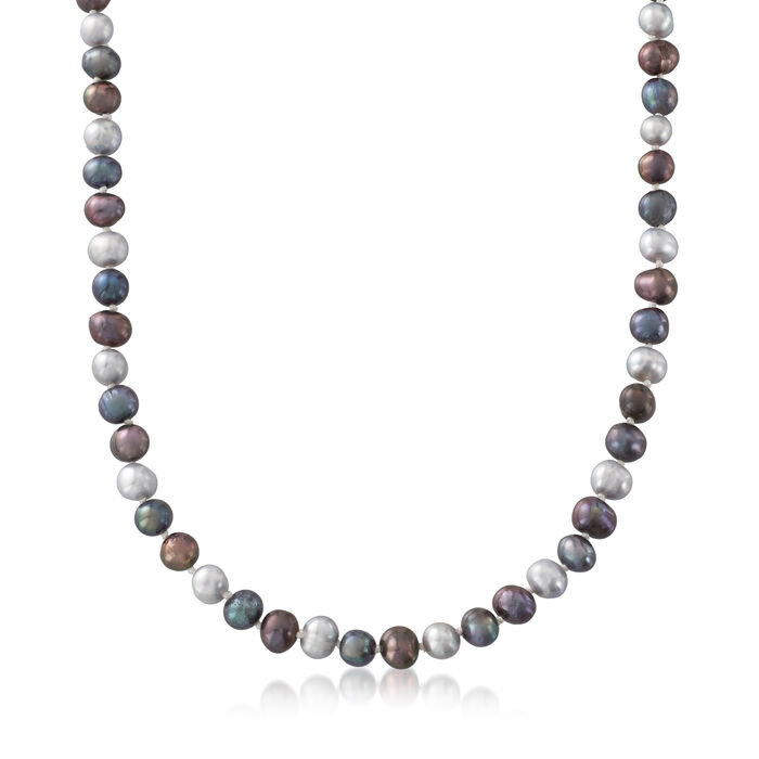 6-7mm Multicolored Cultured Pearl Jewelry Set: Necklace, Bracelet and Earrings in Sterling Silver