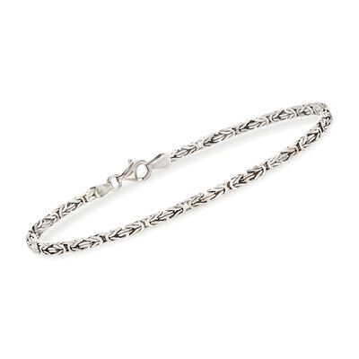 2.3mm Sterling Silver Byzantine Bracelet, , default