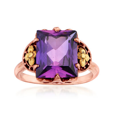 C. 1940 Vintage 6.85 Carat Purple Synthetic Sapphire in 10kt Rose Gold, , default