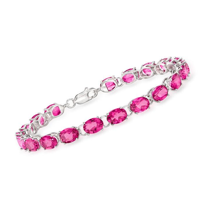 19.00 ct. t.w. Pink Topaz Tennis Bracelet in Sterling Silver