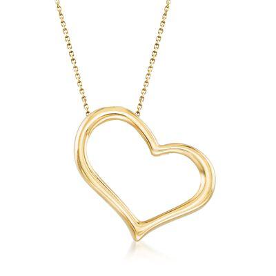 Italian 18kt Yellow Gold Open-Space Sideways Heart Drop Necklace, , default