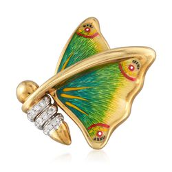 C. 1980 Vintage .20 ct. t.w. Diamond Butterfly Pin With Multicolored Enamel in 18kt Gold , , default