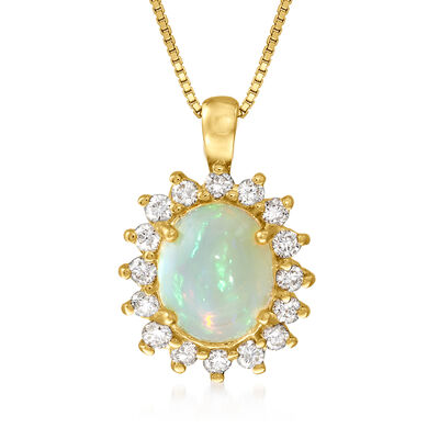 C. 1980 Vintage Opal and .65 ct. t.w. Diamond Pendant Necklace in 14kt Yellow Gold