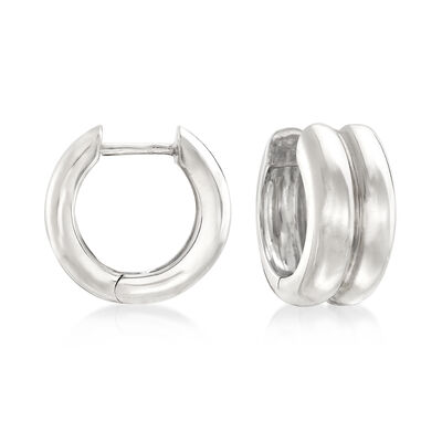 14kt White Gold Two-Row Huggie Hoop Earrings, , default