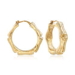"Italian 18kt Yellow Gold Over Sterling Silver Bamboo Hoop Earrings. 1 1/4"", , default"