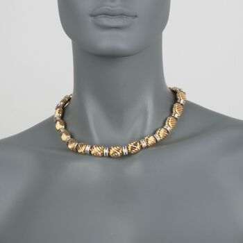 "C. 2000 Vintage Faraone Mannella 1.90 ct. t.w. Diamond Bead Necklace in 18kt Yellow Gold. 17"", , default"