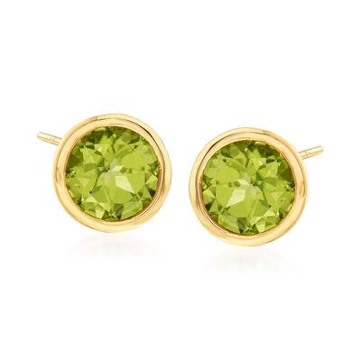 1.80 ct. t.w. Bezel-Set Peridot Stud Earrings in 14kt Yellow Gold, , default