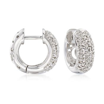 """.10 ct. t.w. Diamond Huggie Hoop Earrings in Sterling Silver. 3/8"""", , default"""