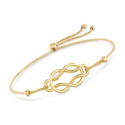 14kt Yellow Gold Celtic Knot Infinity Bolo Bracelet, , default