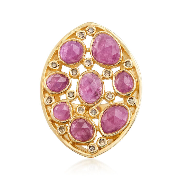 6.00 ct. t.w. Ruby and .25 ct. t.w. Champagne Diamond Ring in 18kt Gold Over Sterling, , default