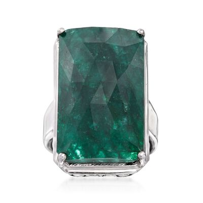 20.00 Carat Green Beryl Ring in Sterling Silver, , default