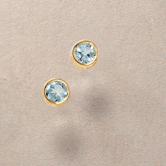 1.00 ct. t.w. Bezel-Set Aquamarine Stud Earrings in 14kt Yellow Gold