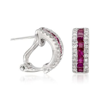 "1.10 ct. t.w. Ruby and .30 ct. t.w. Diamond Hoop Earrings in 14kt White Gold. 3/8"", , default"