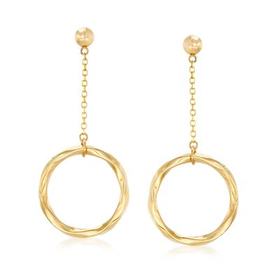 14kt Yellow Gold Twisted Open Circle Drop Earrings, , default