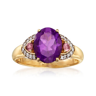 1.70 Carat Amethyst and .10 ct. t.w. Pink Tourmaline Ring with Diamond Accents in 14kt Yellow Gold