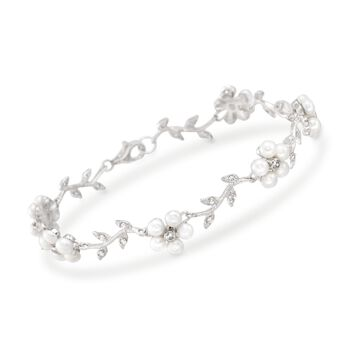 """3-3.5mm Cultured Pearl and .60 ct. t.w. CZ Floral Bracelet in Sterling Silver. 7"""", , default"""