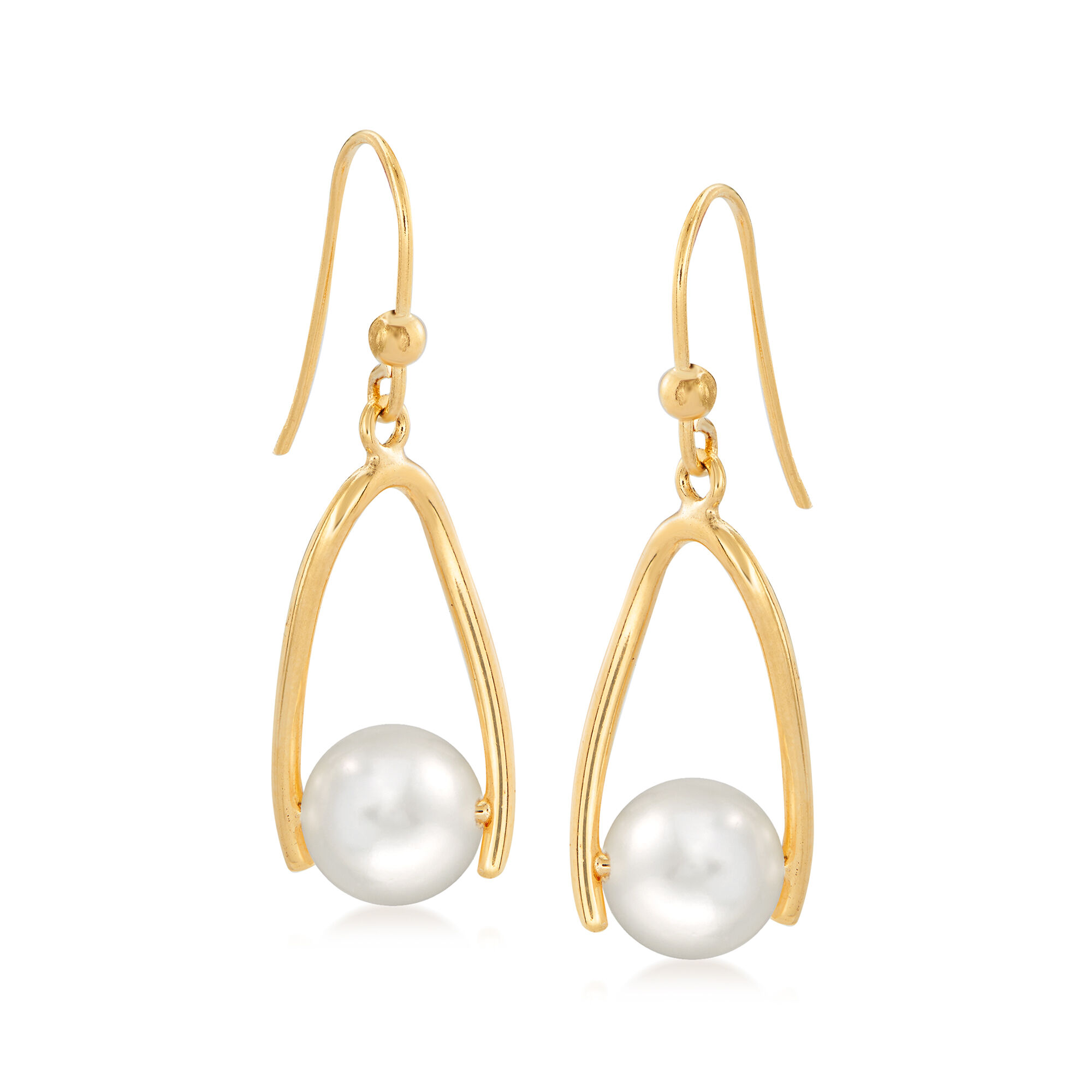 Sterling Silver with 14k 7x5mm Freshwater Cultured Pearl Drop Earrings