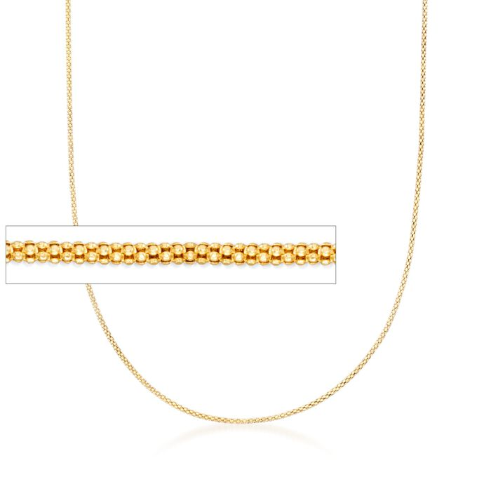 """1.2mm 14kt Yellow Gold Adjustable Popcorn Chain Necklace. 22"""", , default"""