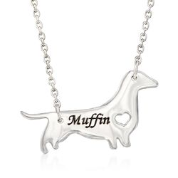 "Sterling Silver Dachshund Dog Name Necklace. 18.75"", , default"