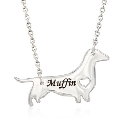 Sterling Silver Dachshund Dog Name Necklace, , default