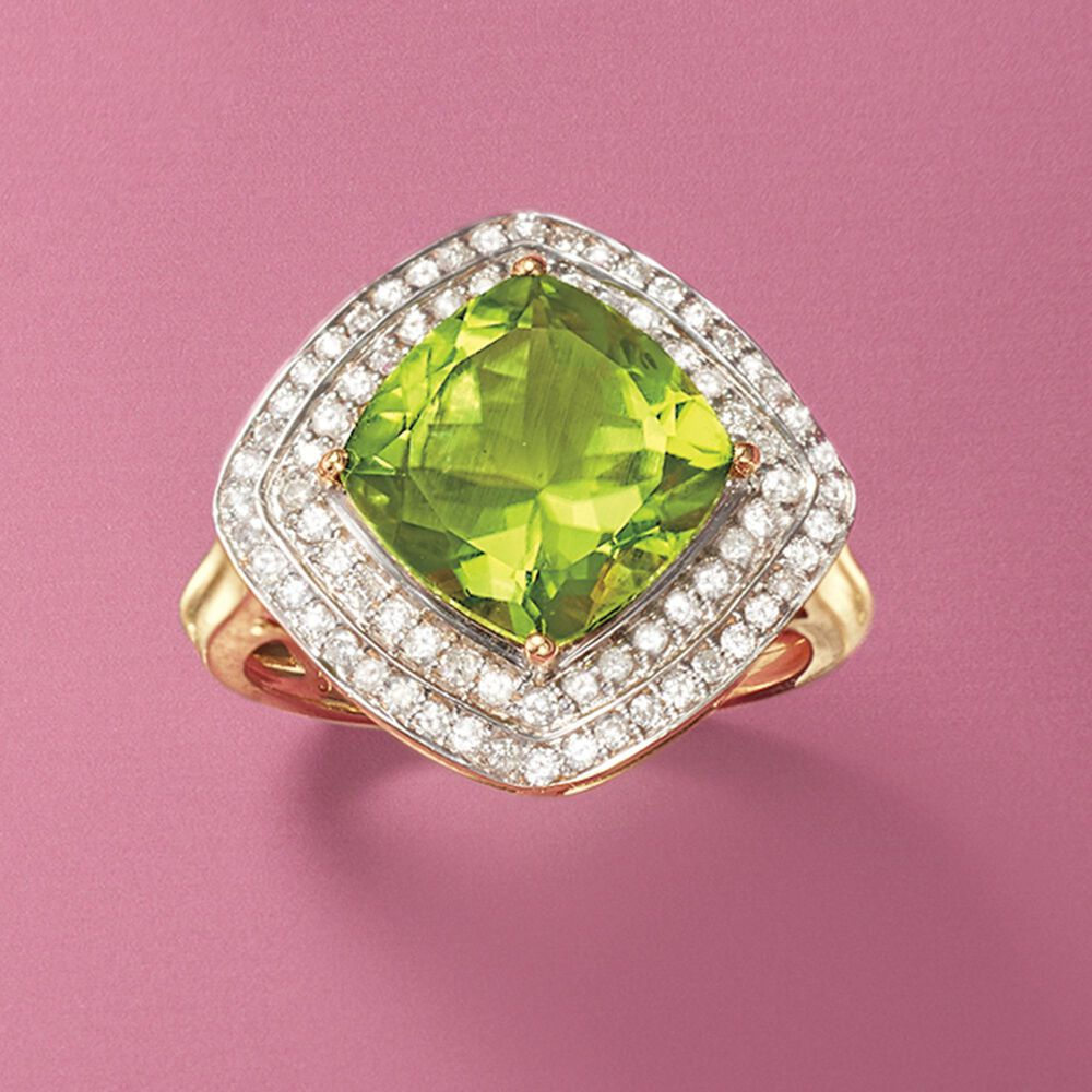 3.60 Carat Peridot and .41 ct. t.w. Diamond Ring in 14kt Yellow Gold ...
