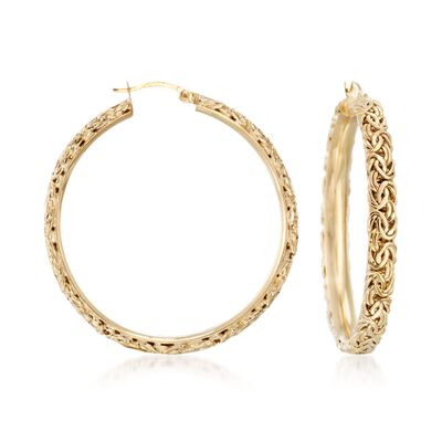 18kt Yellow Gold Over Sterling Silver Extra Large Byzantine Hoop Earrings, , default