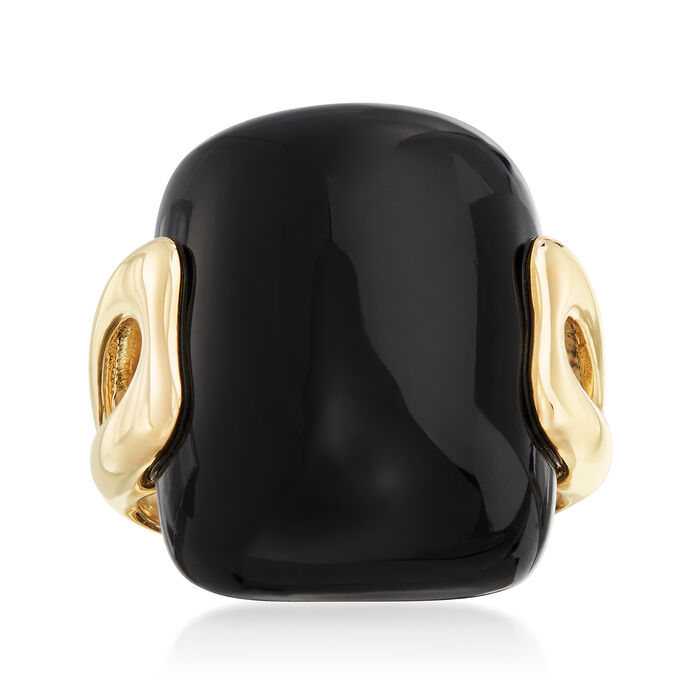 17x22mm Black Agate Ring in 14kt Yellow Gold. Size 5, , default