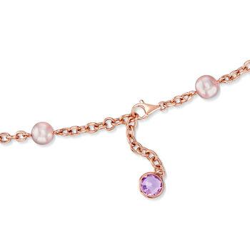 "C. 1990 Vintage 8mm Violet Cultured Pearl, 22.00 ct. t.w. Violet Jade and 6.70 ct. t.w. Amethyst Necklace in 18kt Rose Gold. 18"", , default"