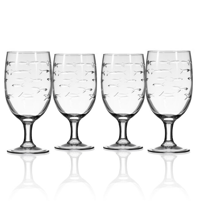 "Rolf Glass ""School of Fish"" Set of 4 Iced Tea Glasses"