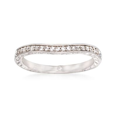 Gabriel Designs .13 ct. t.w. Diamond Curved Wedding Ring in 14kt White Gold, , default