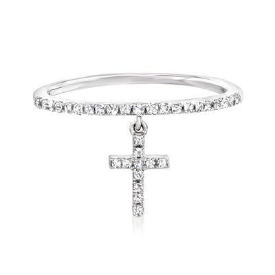 .16 ct. t.w. Diamond Cross Charm Ring in 14kt White Gold