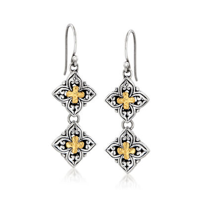 Sterling Silver Bali-Style Drop Earrings with 18kt Yellow Gold