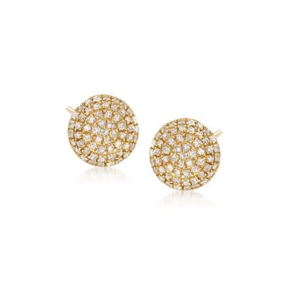 .17 ct. t.w. Pave Diamond Circle Stud Earrings in 14kt Yellow Gold, , default